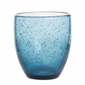 Verres bas 35cl en verre bullé Bleu