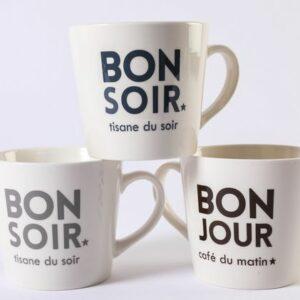 Déjeuner recto verso Hauteur : 10.5 cm Largeur : 11 cm – Contenance 40 cl Sérigraphié en France et lavable au lave-vaisselle