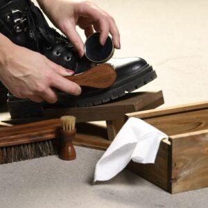 Kit d'entretien chaussures en Bois pin, bois de Schima spp, crins de cheval, cire, coton