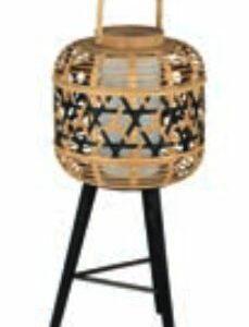 Lampe bambou noir et naturel Hauteur 79cm Diamètre 32cm