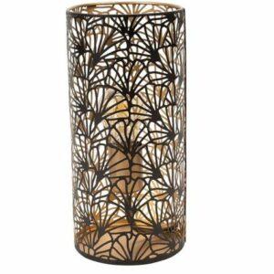 Lampe cylindrique en métal noir et or Largeur : 15cm Profondeur: 15cm Hauteur : 36cm