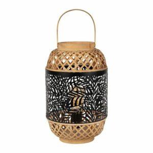 Lampe lanterne en bambou naturel et fer noir doré Largeur : 25cm Profondeur: 25cm Hauteur : 38cm