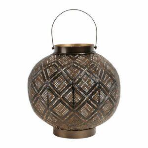 Lampe lanterne en métal noir et doré
