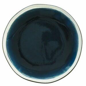 "Assiette dessert en grès ""Origine bleu marine"" 21cm"