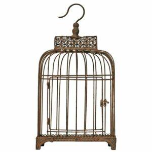 Cage fer patiné à suspendre Hauteur 45 cm Largeur 16 cm Longueur 24 cm