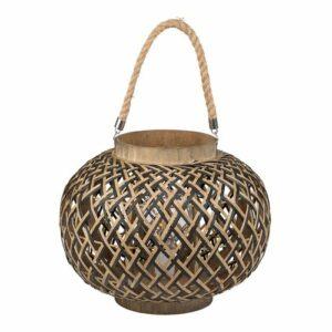 Lampe lanterne en bambou noir et naturel. 35cm de diamètre et 30cm de hauteur