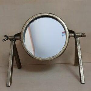Petit miroir rond à poser façon vieil-or