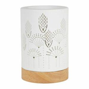 Lampe blanche aromatique avec socle en bois  10 X 16cm