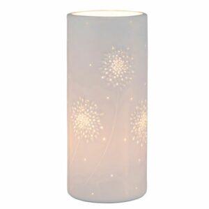 """lampe cylindrique blanche """"végétal"""" 12 x 28cm"""
