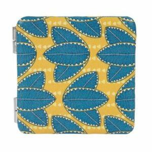 Miroir double face 6 X 6 cm bleu et jaune
