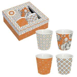 """Coffret de 4 tasses en porcelaine 10cl """"Trend Color"""" orange"""