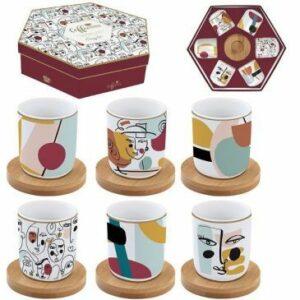 """Coffret de 6 tasses en porcelaine avec soucoupe en bambou """"Modernisme"""""""