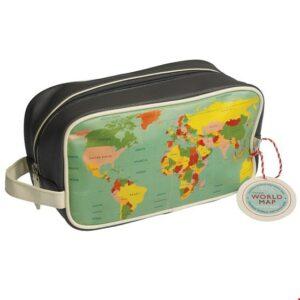"""""""Word Map""""Trousse de toilette ou de rangement au design de carte du monde, avec 2 poches intérieures et fermeture à glissière. L: 11cm, L: 26 cm, H: 14 cm"""