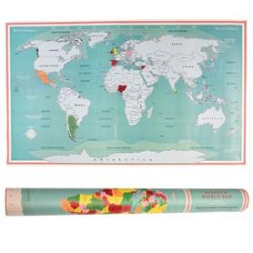 Grattez les pays où vous avez été et suivez vos voyages avec cette carte du monde à gratter originale  Grandeur de la carte: 87x52cm  Emballé dans un tube carte du monde.