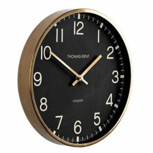 "Horloge ""Clocksmith"" 30cm noire et or mat."
