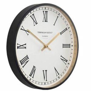 "Horloge ""Clocksmith"" 30cm blanche et or mat."