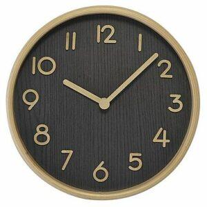 Horloge bois clair fond foncé 22cm