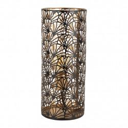 Lampe cylindrique or et noir 14 X 30cm
