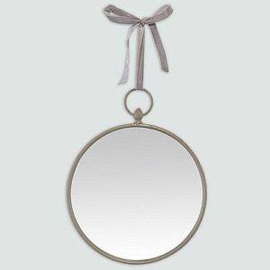 Miroir 30cm rond à suspendre par un ruban gris